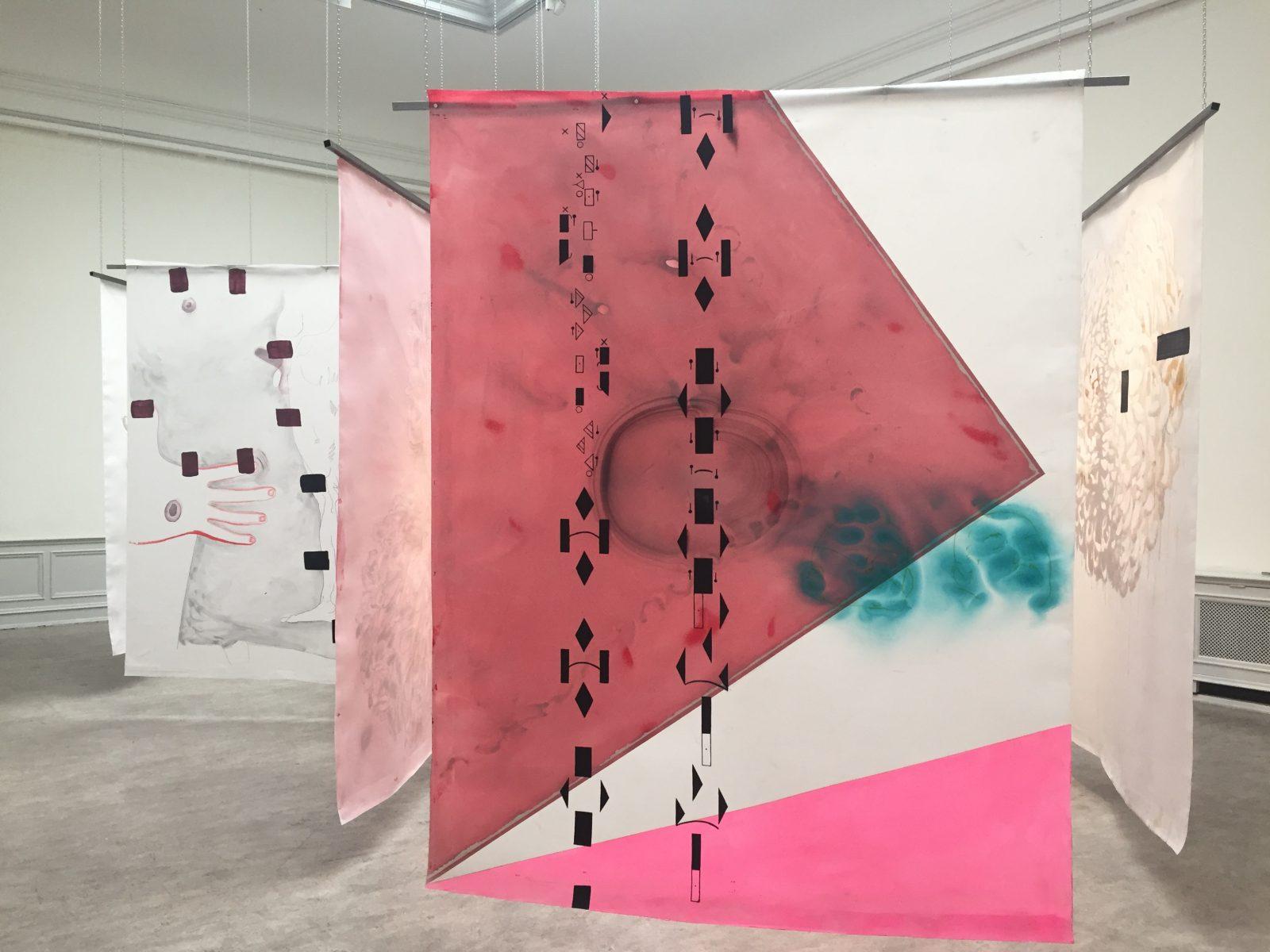 "Installation ""Un Chant Ecarlate"", 2019, Konstakademien, Stockholm. Photo: Vanessa Fristedt"