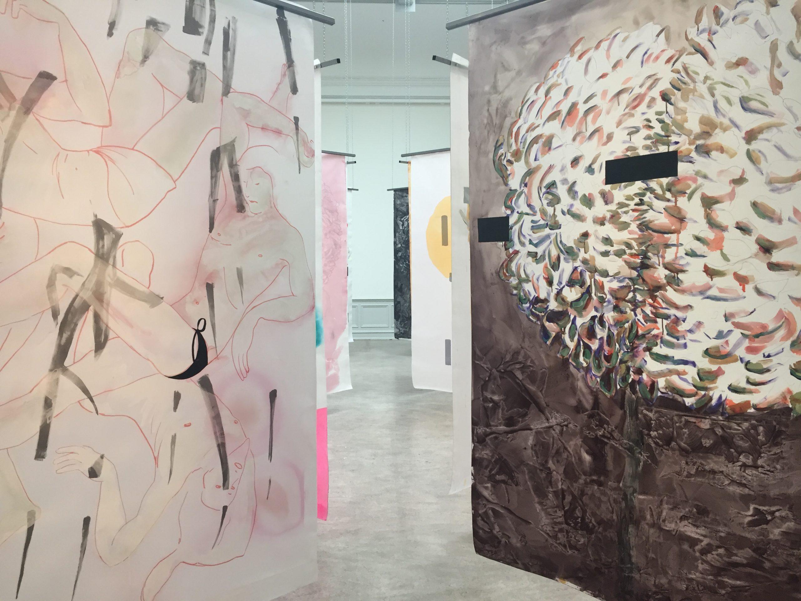 """Martin Gustavsson, Installation view:""""Un Chant Ecarlate"""", Galleri Öst, Konstakademien 2019."""