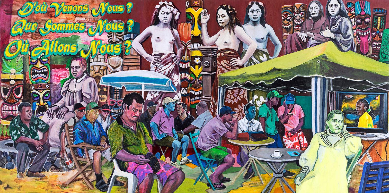 """Monika Marklinger, """"D'où venons nous? Que sommes nous? Où allons nous?, 2016, Acrylic on canvas, 89 x 116 cm"""