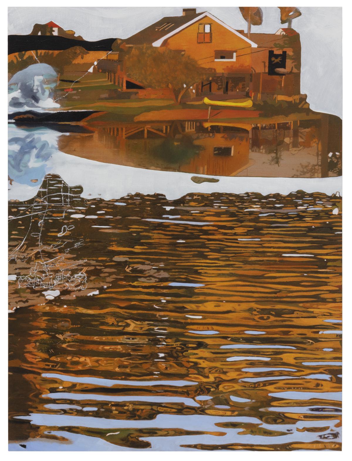 "Lisa D Manner,""Dagsmeja/Middaythwaw, "", 2020, oil on mdf, 40x30 cm, Galleri Flach"