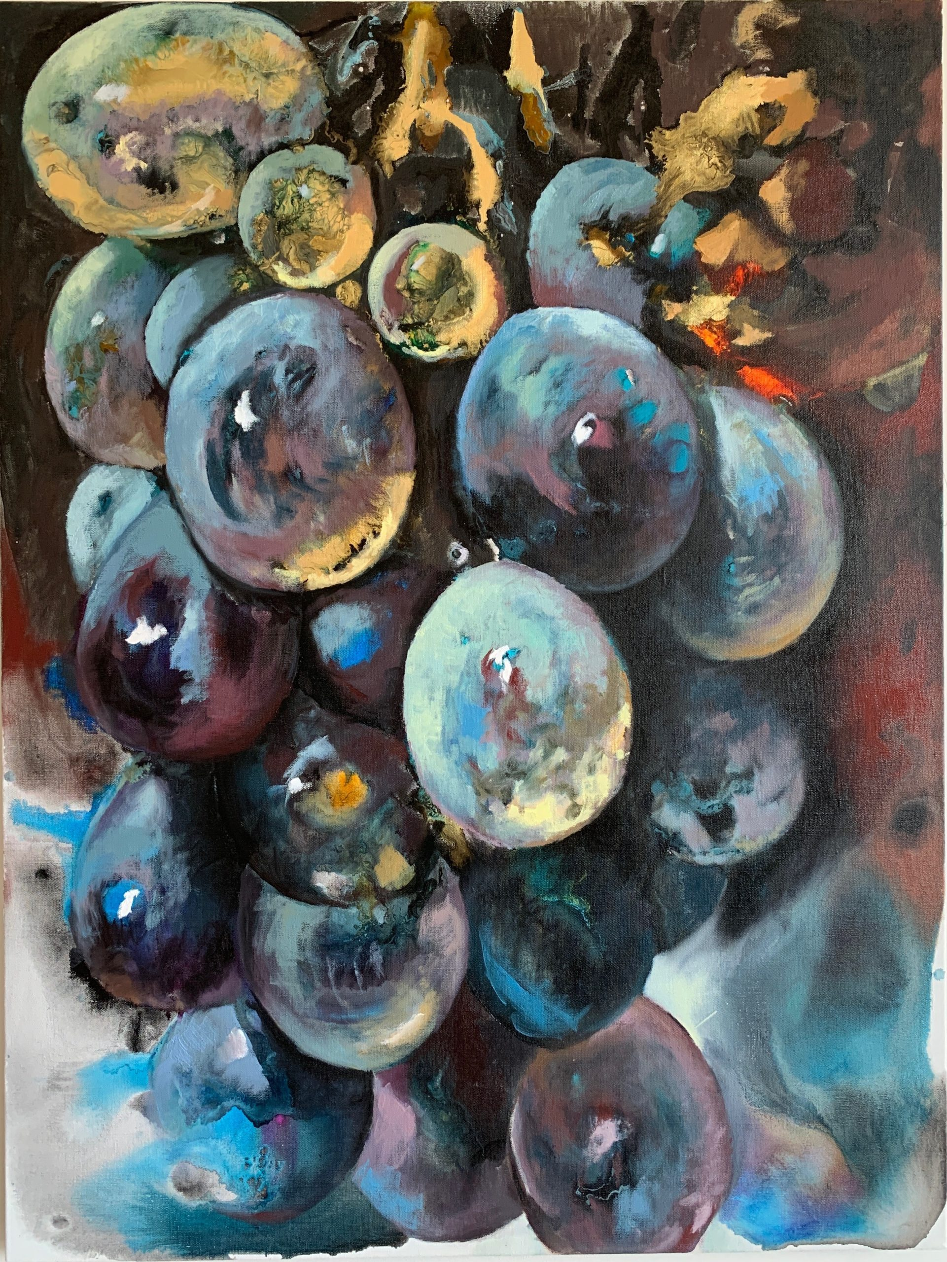 """Martin Gustavsson, """"The Aesthetics of Fruit #grapes"""", 2020. Oil on canvas, 101x76 cm"""