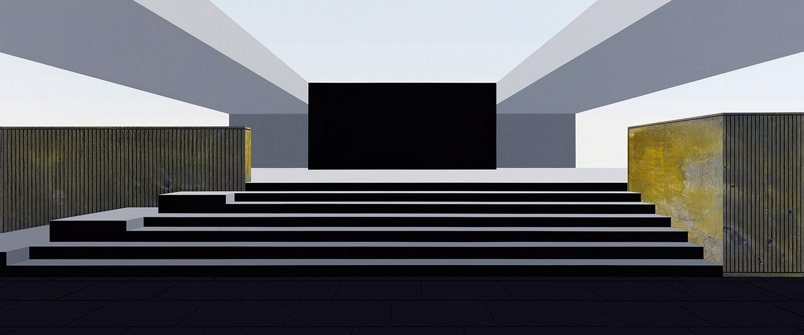 "Henrik Samuelsson, ""Core"", 2016. Mixed media on canvas, 100 x 240 cm"