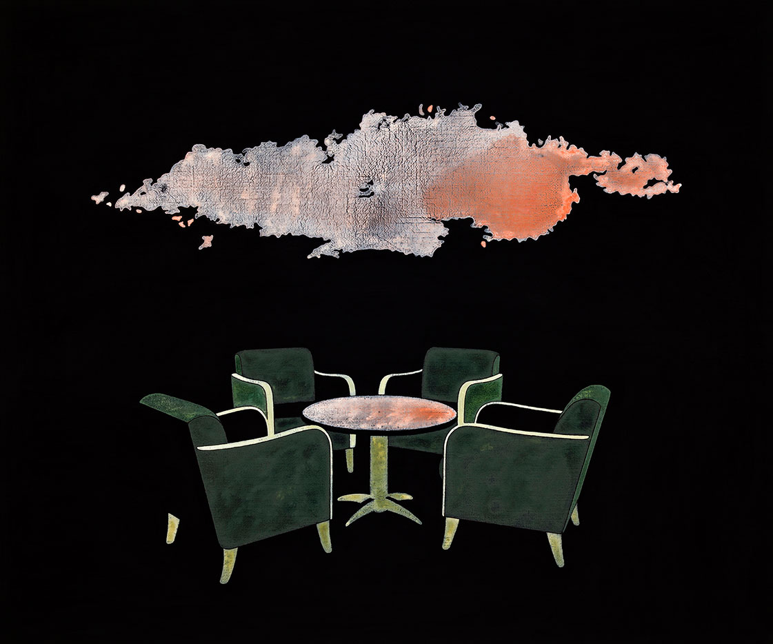 "Henrik Samuelsson, ""Drinking Water in the rain"", 2012. Mixed media, 50 x 60 cm"