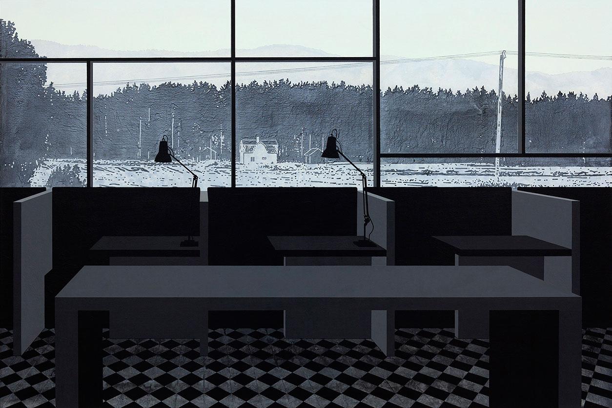 """Henrik Samuelsson, """"Dusk Box"""" 2014, mixed media on canvas, 100 x 150 cm"""