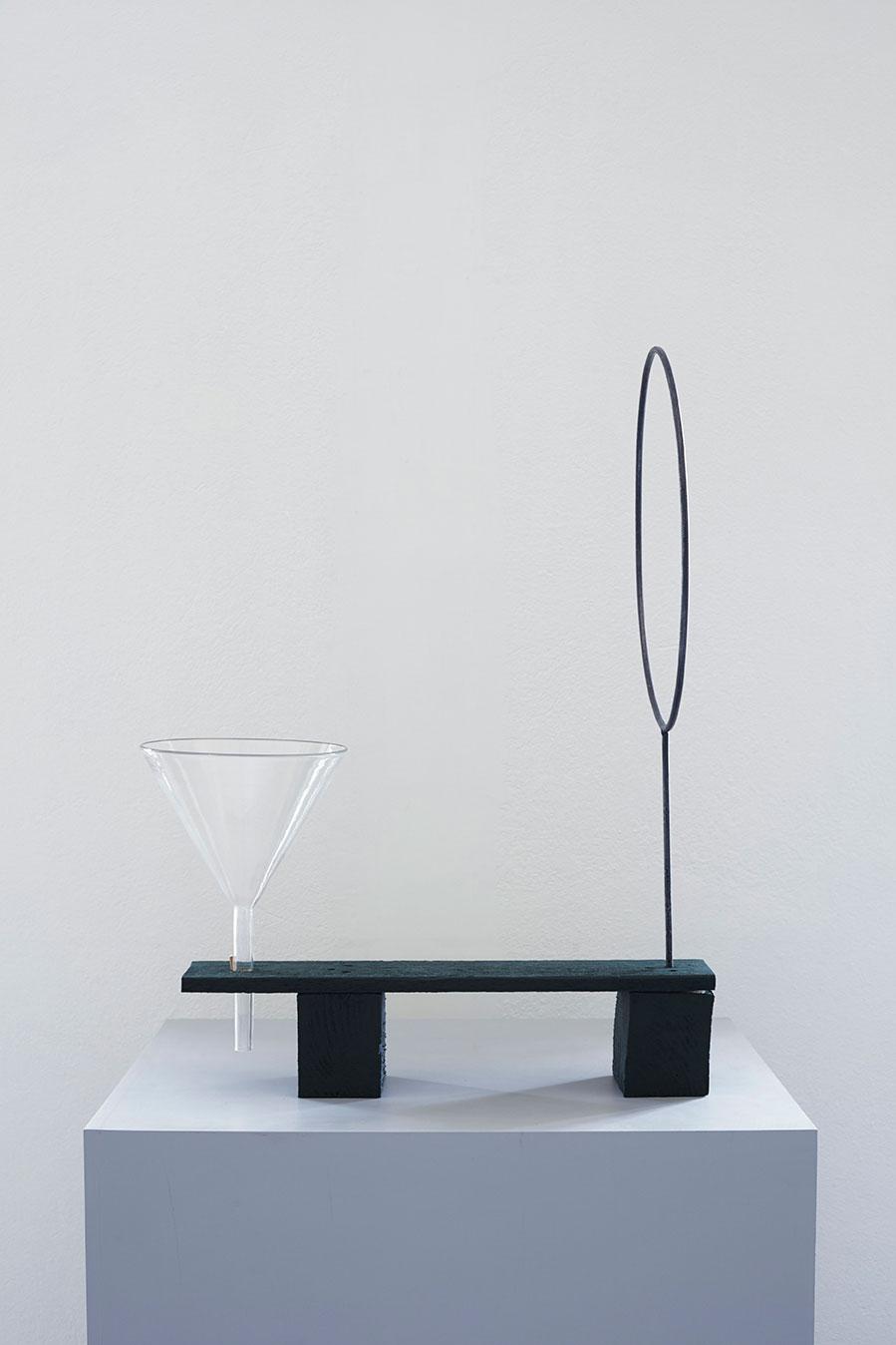 """Jakob Solgren, """"Fältutrustning"""", 2016. Wood, glassware, iron, 66 x 46,5 cm,"""
