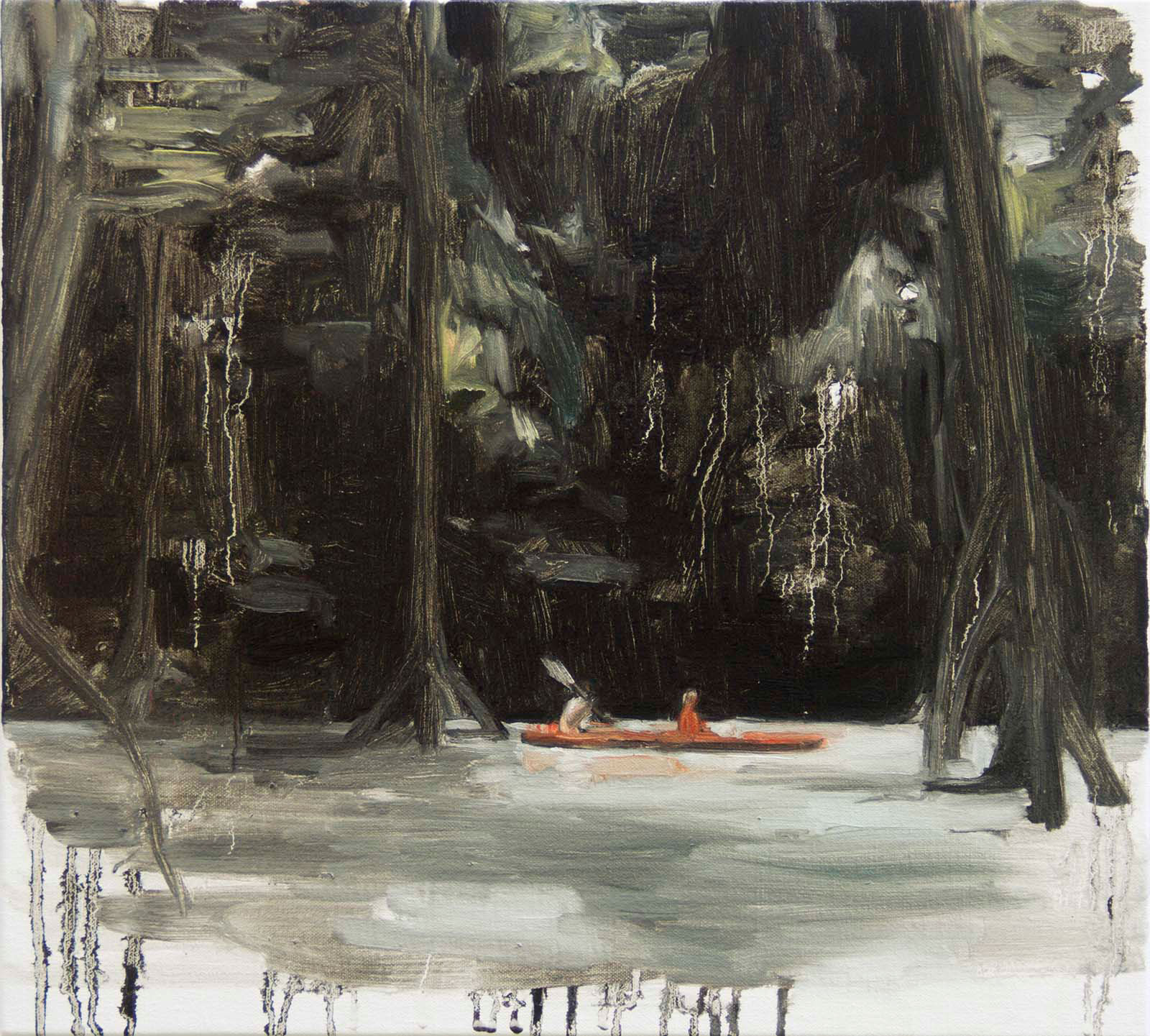 "Johanna Fjaestad, ""Kanoten"" (The Canoe), 2016, oil on canvas, 63 x 37 cm"