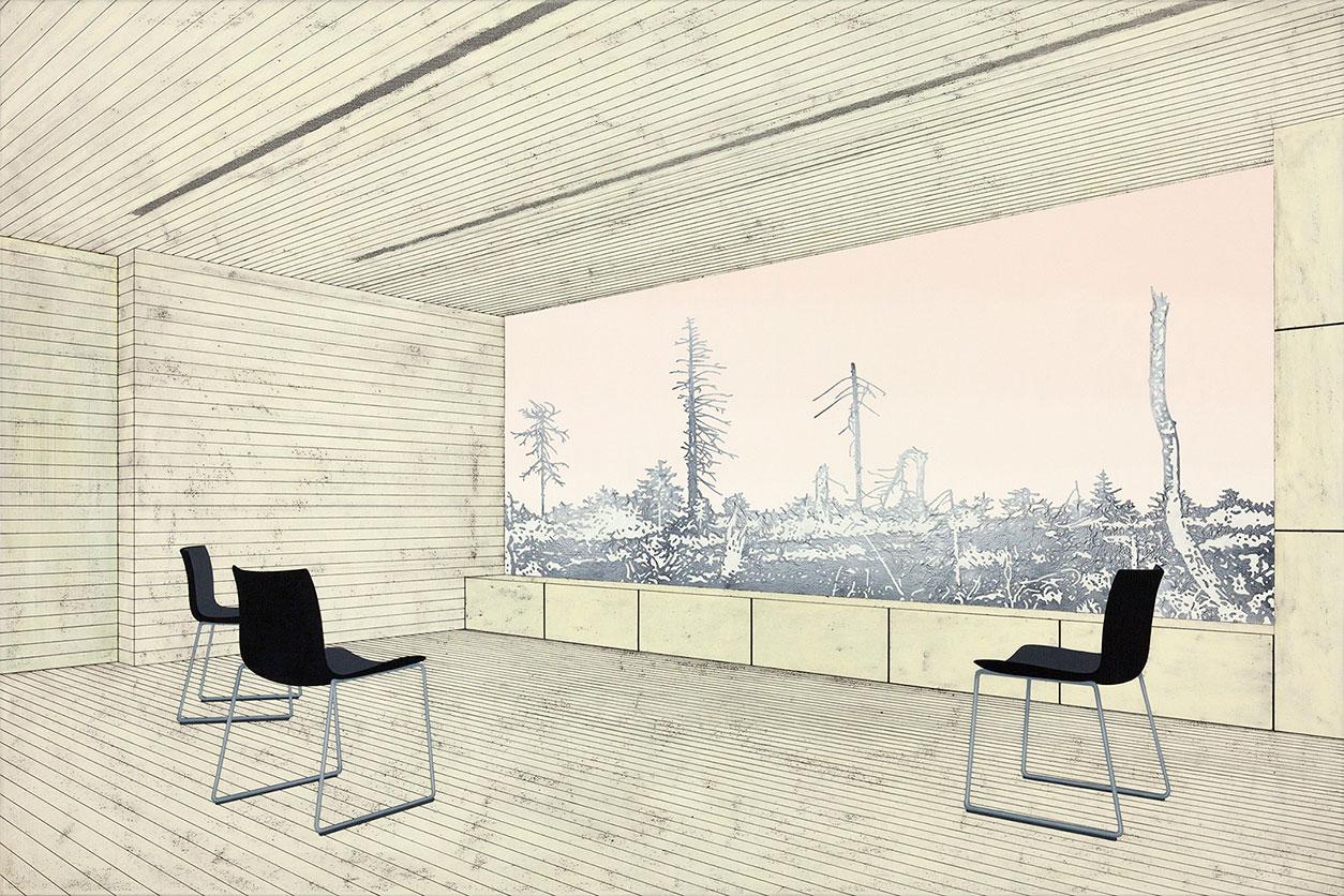 "Henrik Samuelsson, ""Sooty Void"", 2014 . Mixed media on canvas, 100 x 150 cm"