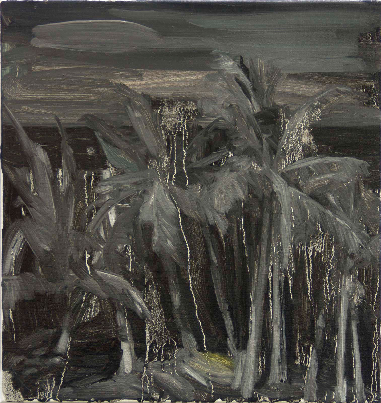 "Johanna Fjaestad, ""Svart djungel"" (Dark Jungel), 2016, oil on canvas, 40 x 37 cm"