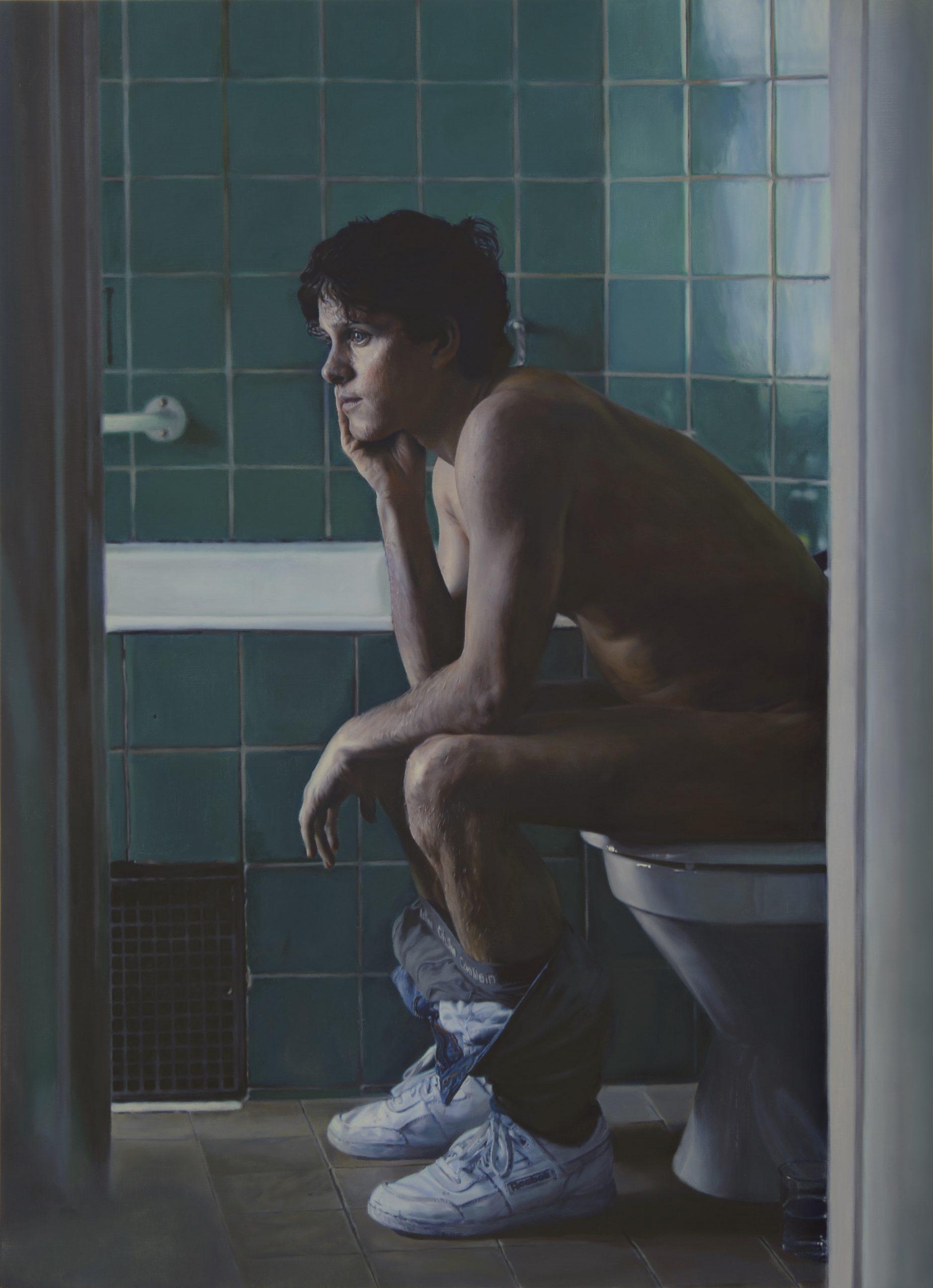 "Niklas Holmgren, ""Adam i badrummet"", 2018. Oil on canvas, 109 x 79 cm,"