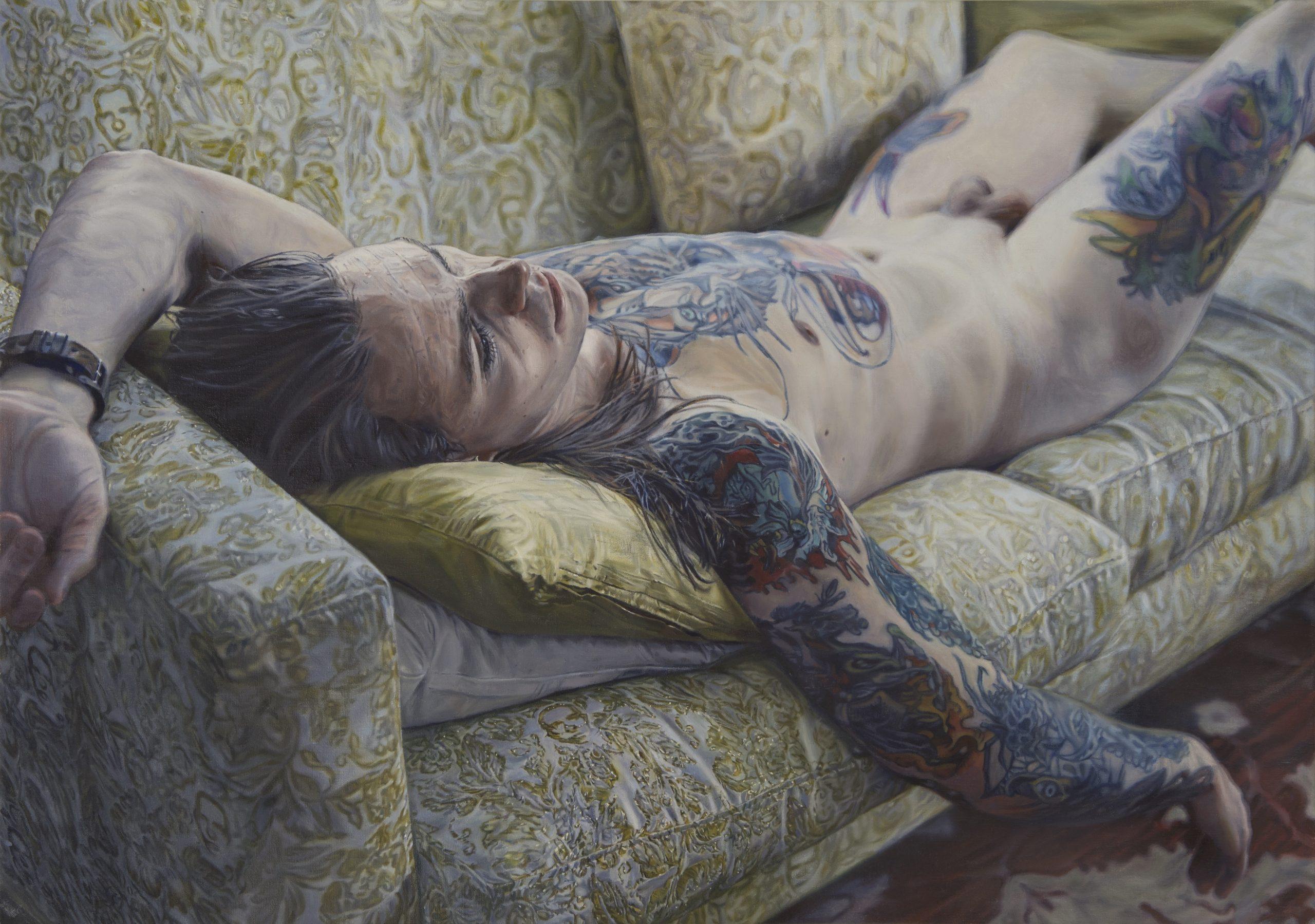 "Niklas Holmgren, ""Alexander på soffan"", 2017, oil on canvas, 91x 64 cm"