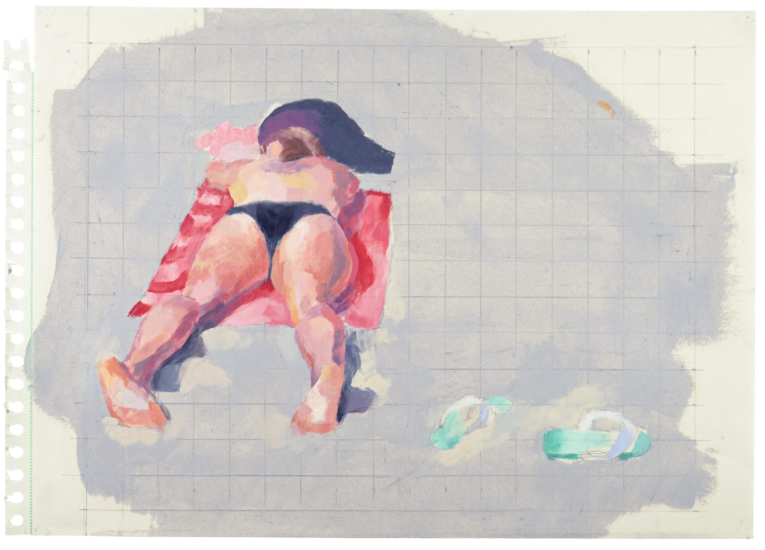 """""""Bredvid flip flop"""", 2020. Oljepastell och blyerts på papper, 30 x 40 cm"""