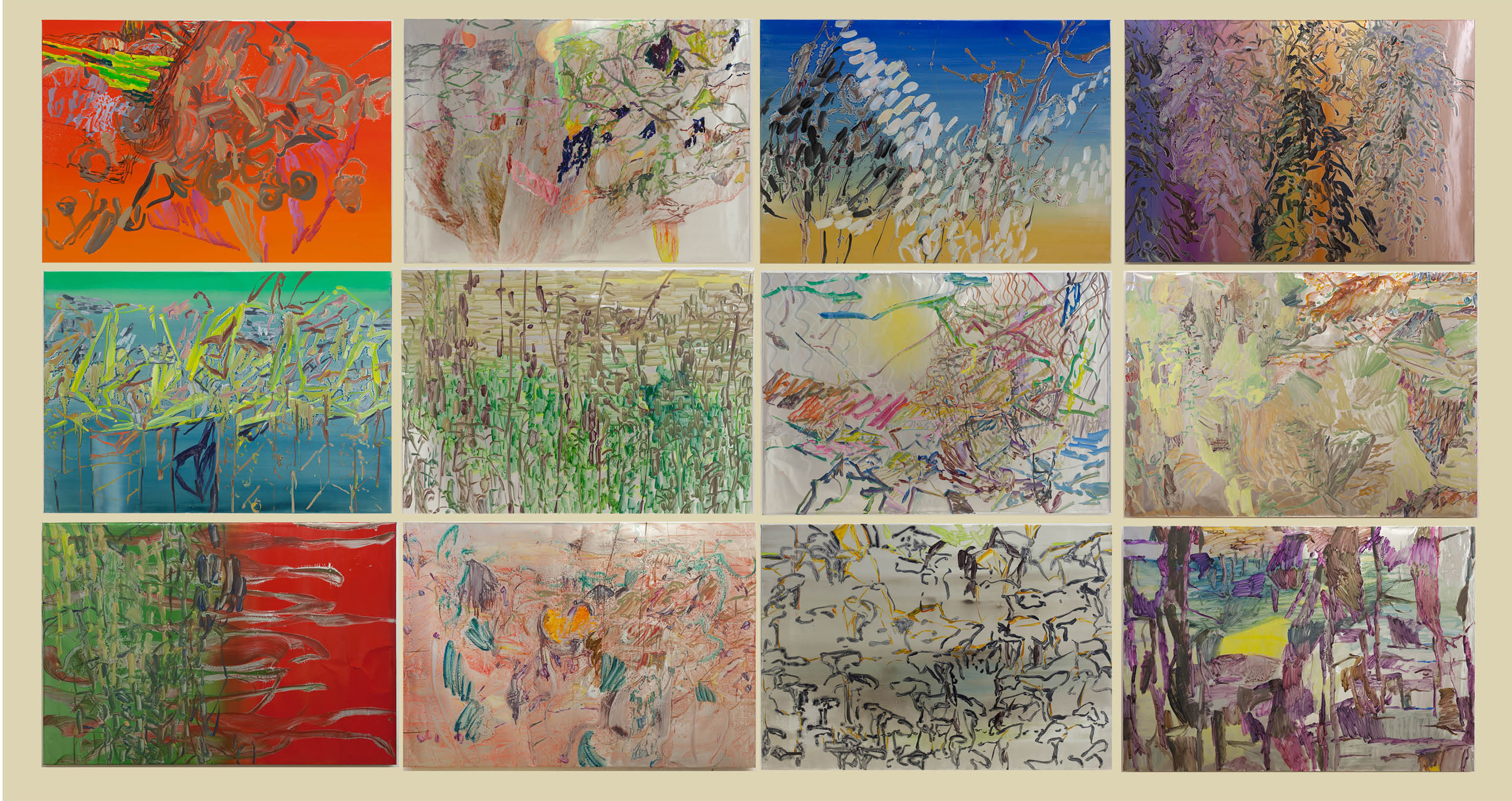 "Henrik Eriksson, Installation view: ""Realities"", paintings 3 x 4, 85 x 122 cm, oil on aluminium"