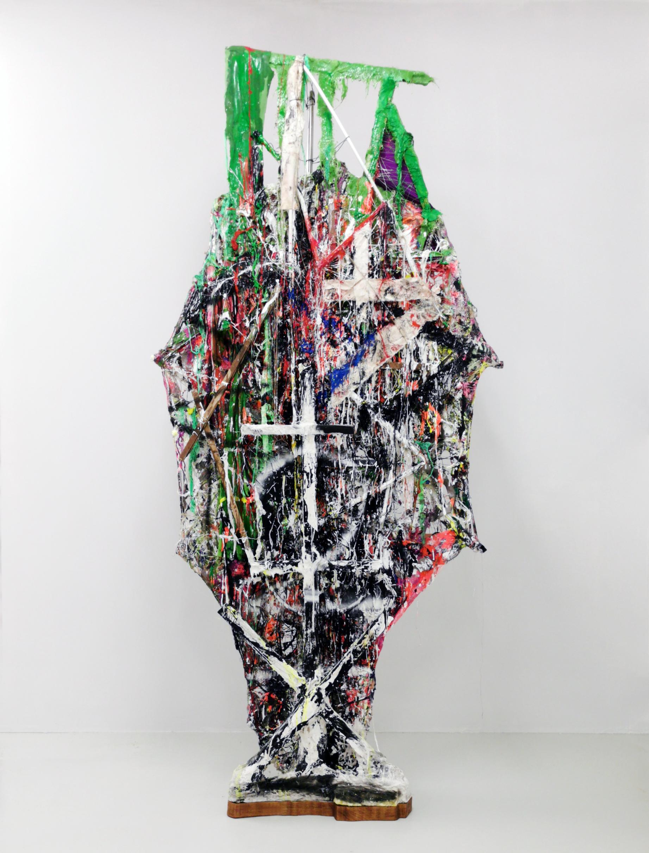 "Jakob Westberg, ""Dummy nr. 22"", 2020.Textiles, glue, acrylics, plaster, epoxy, glassfiber, wood, metal rods spraypaint, 230 x 114 x 41  cm"