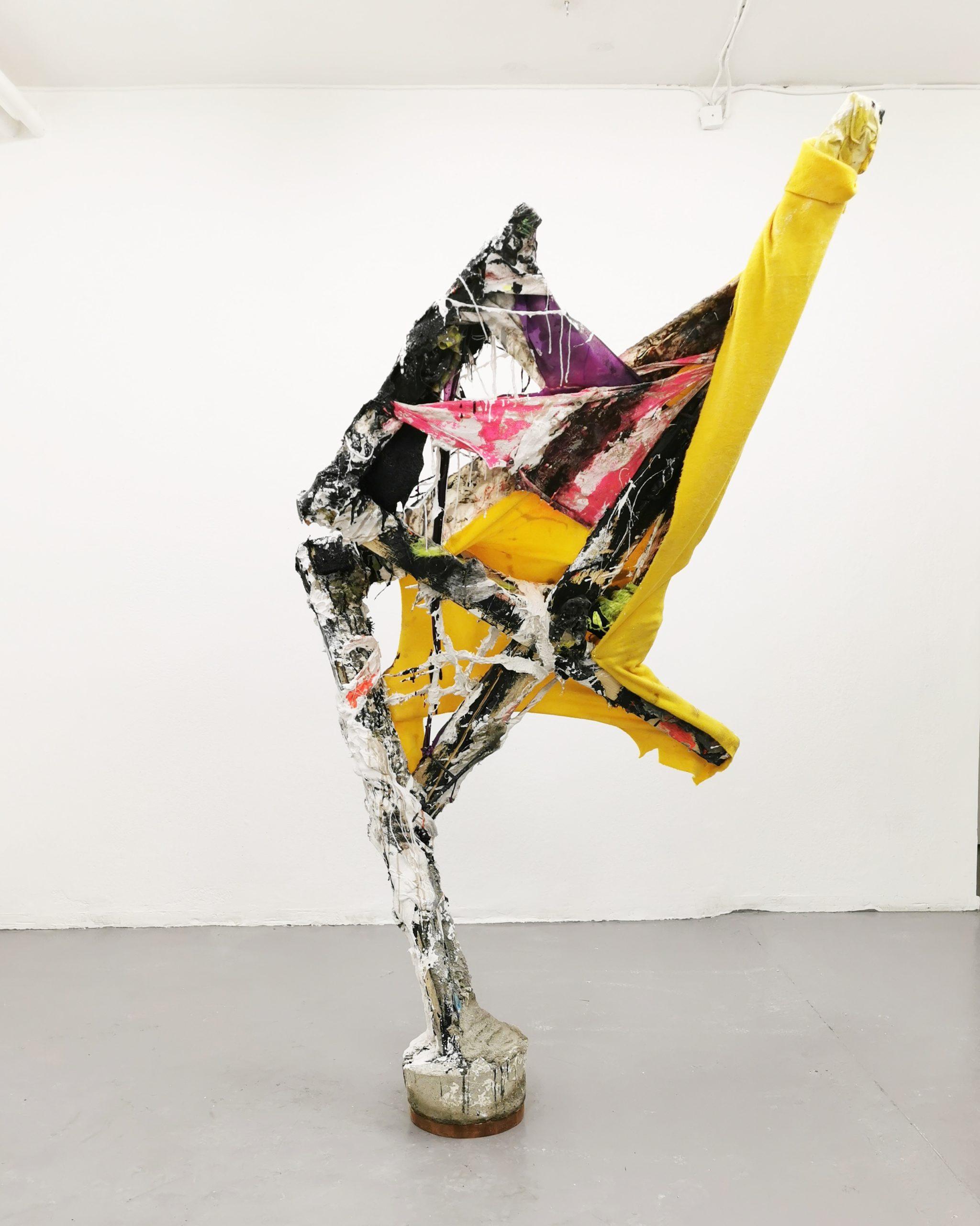 """Jakob Westberg, """"Dummy nr.14 (x) """", 2019. Plaster, concrete, acrystal, textiles, pigments, asphalt, acrylics, epoxy, oakwood, 187 x 89 x 27,5 cm"""