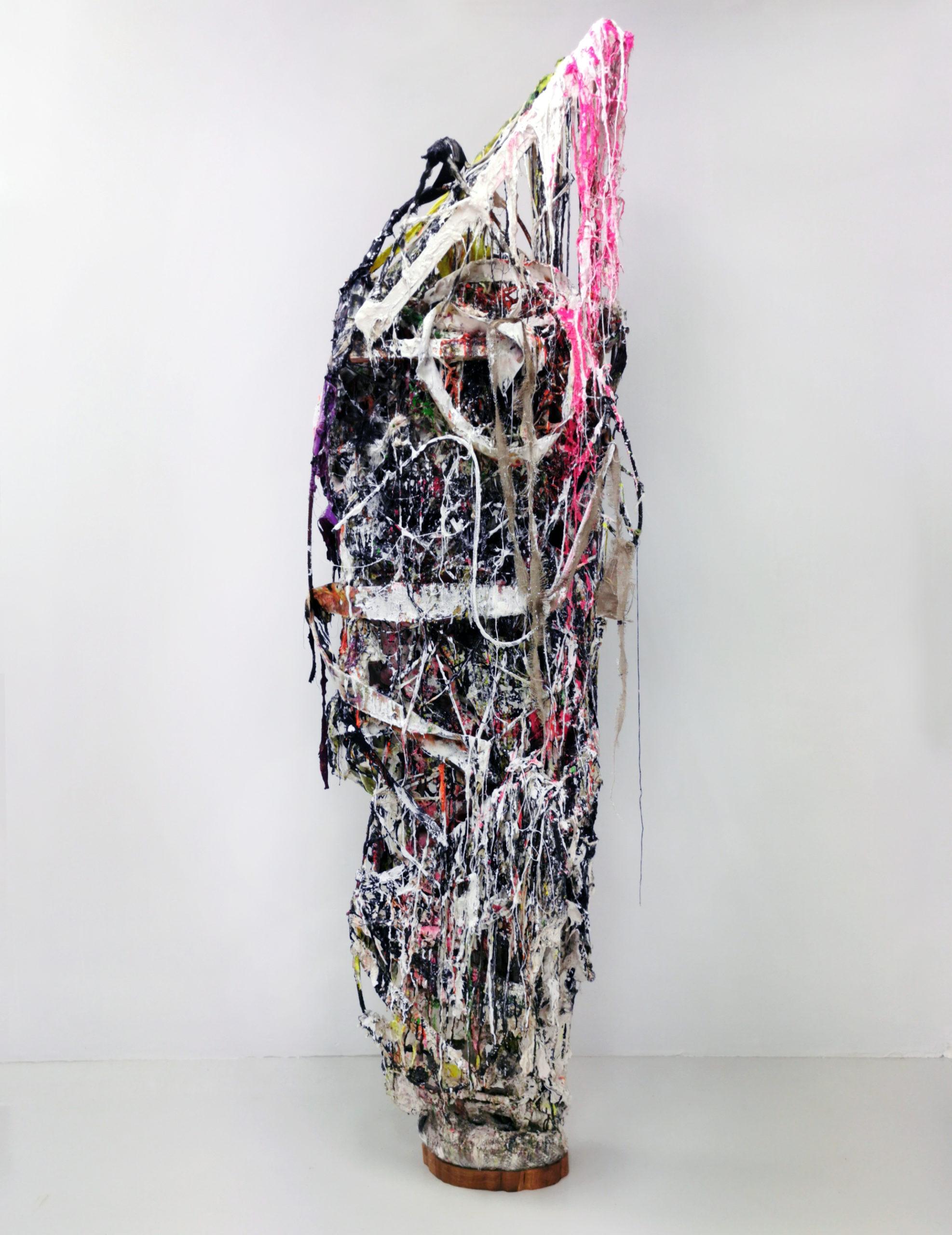 """Jakob Westberg, """"Dummy nr.23"""", 2021. Wood, plaster, iron rods, textiles, acrylics, spraypaint, pigments, epoxy oakwood  235 x 84 x 51 cm"""