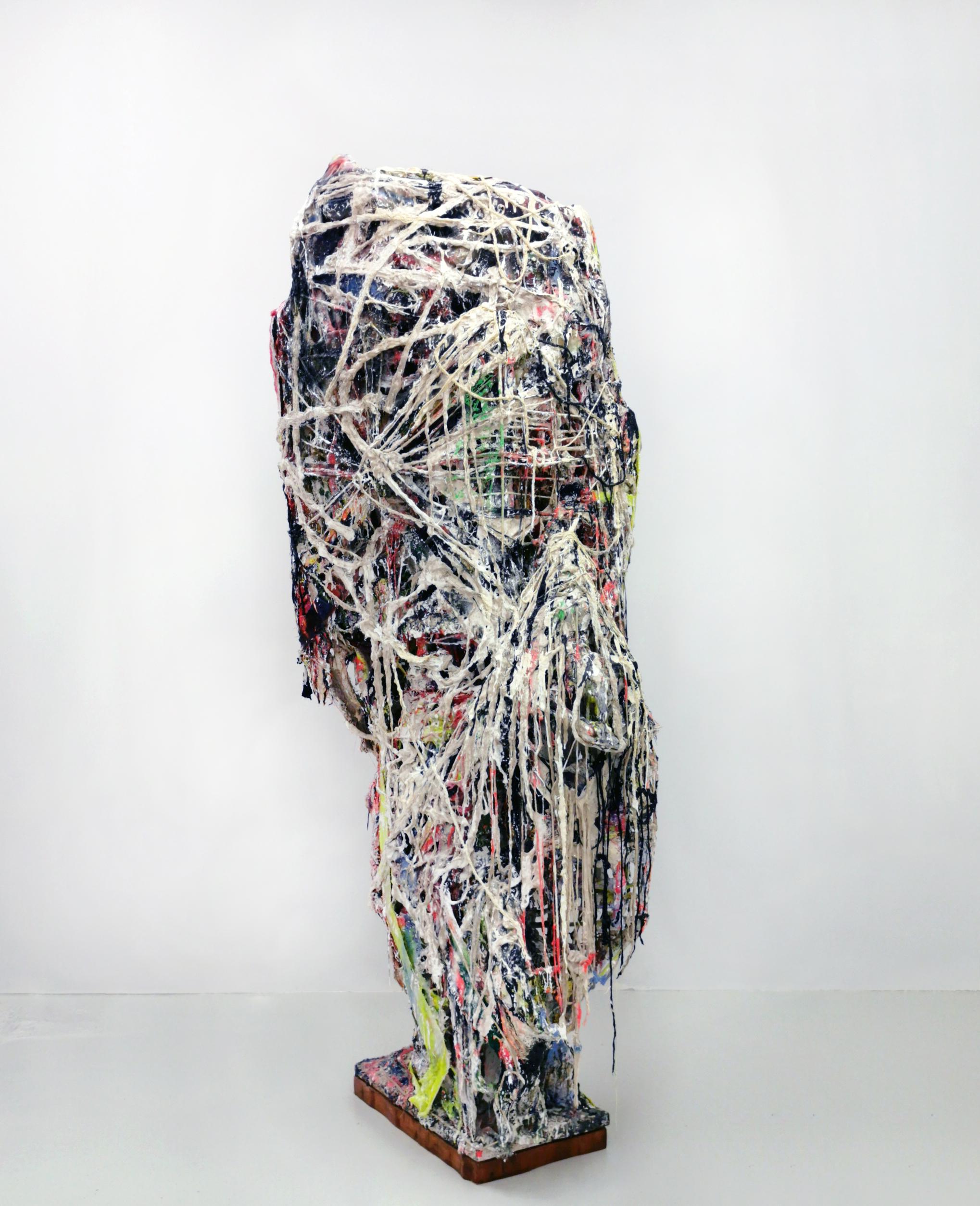 """Jakob Westberg, """"Dummynr.13(z)"""", 2020. Plaster, concrete, textiles, acrylics, pigments, 188 x 67 x 58 cm plaster, concrete, textiles, acrylics, pigments, glue,glitter,epoxy, jute, glassfiber"""