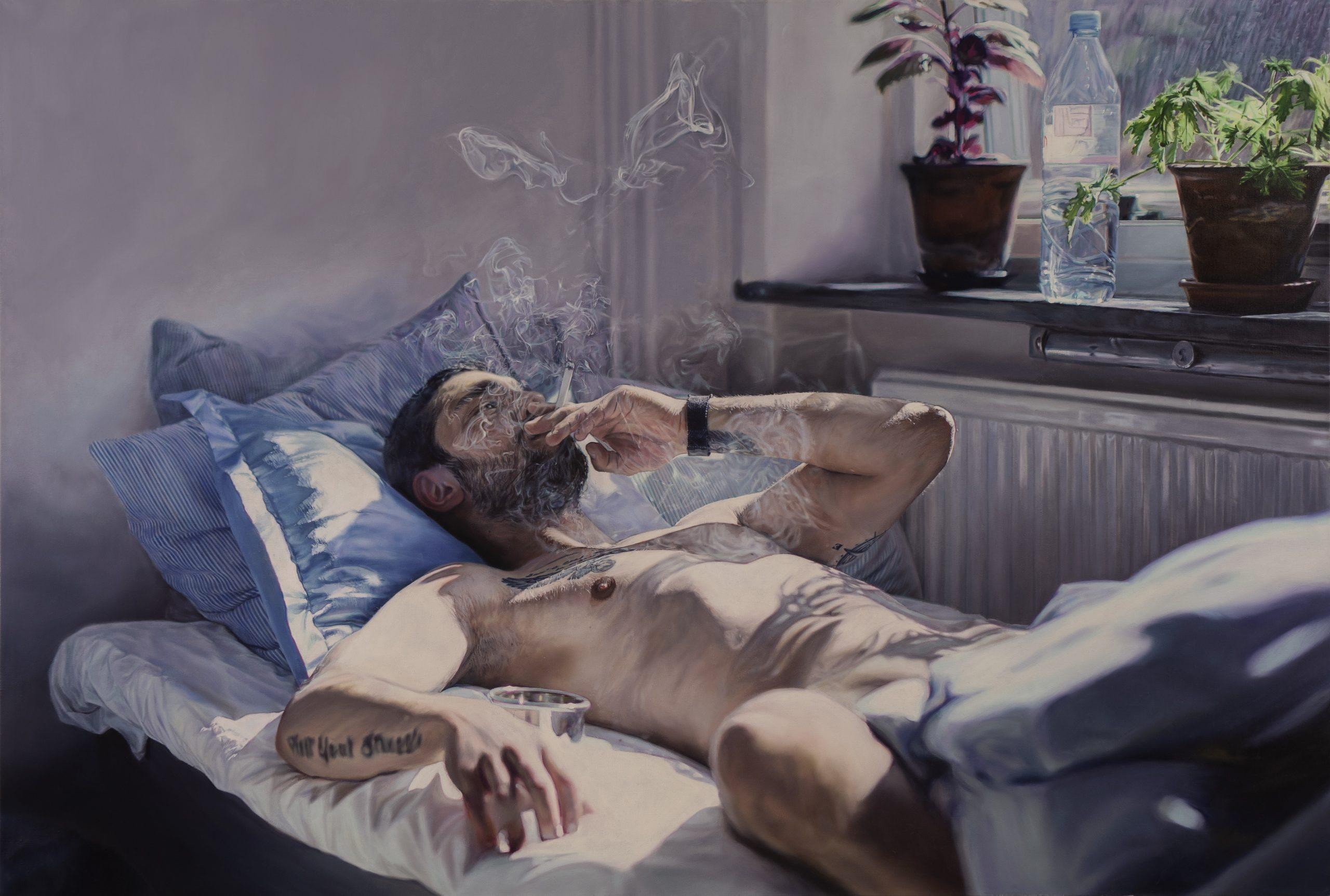"""Niklas Holmgren, """"Eftermiddag Drottninggatan"""", 2019, olja på duk, 88 x 130 cm"""