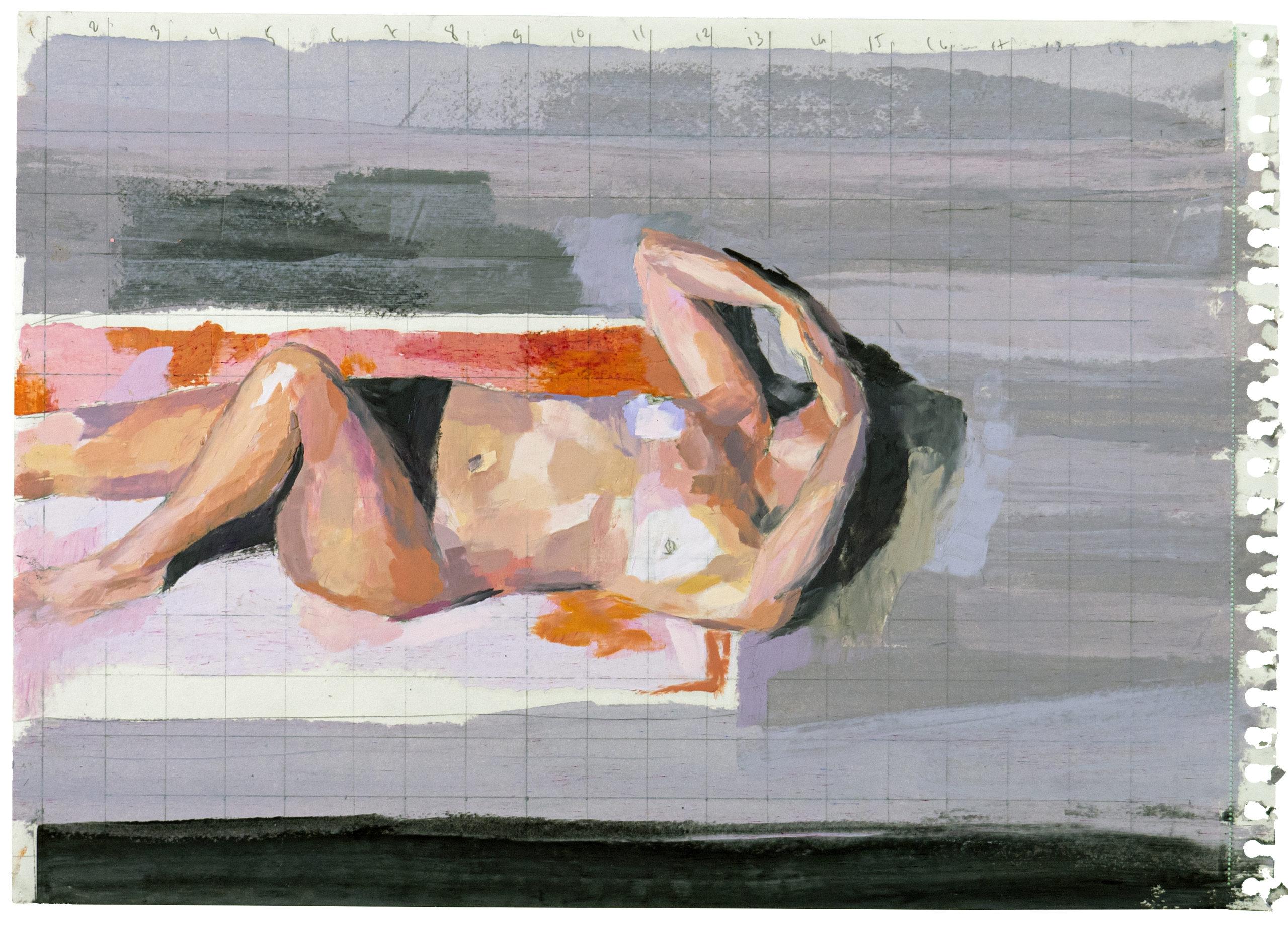 """""""Himlen ovanför"""", 2021.Oljepastell och blyerts på papper, 30 x 40 cm"""