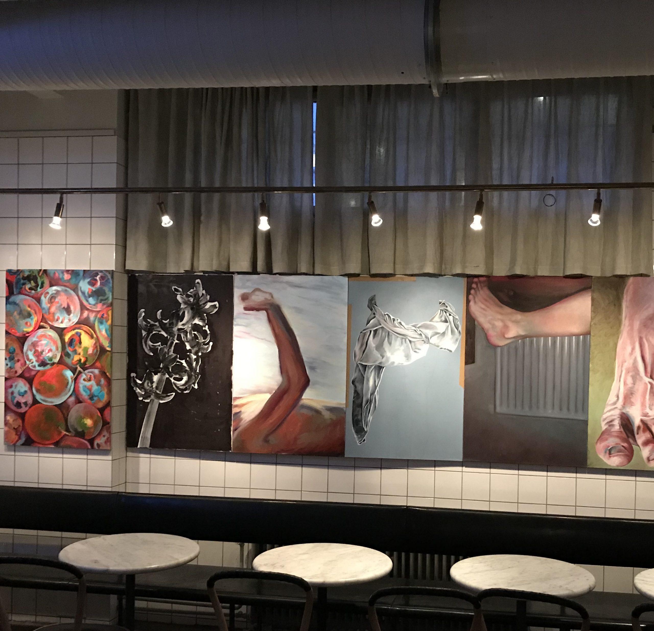"Martin Gustavsson, ""In No Particular Order with Fruit"", 2020.  Installation at Restaurang AG, Kronobergsgatan 37, Stockholm"