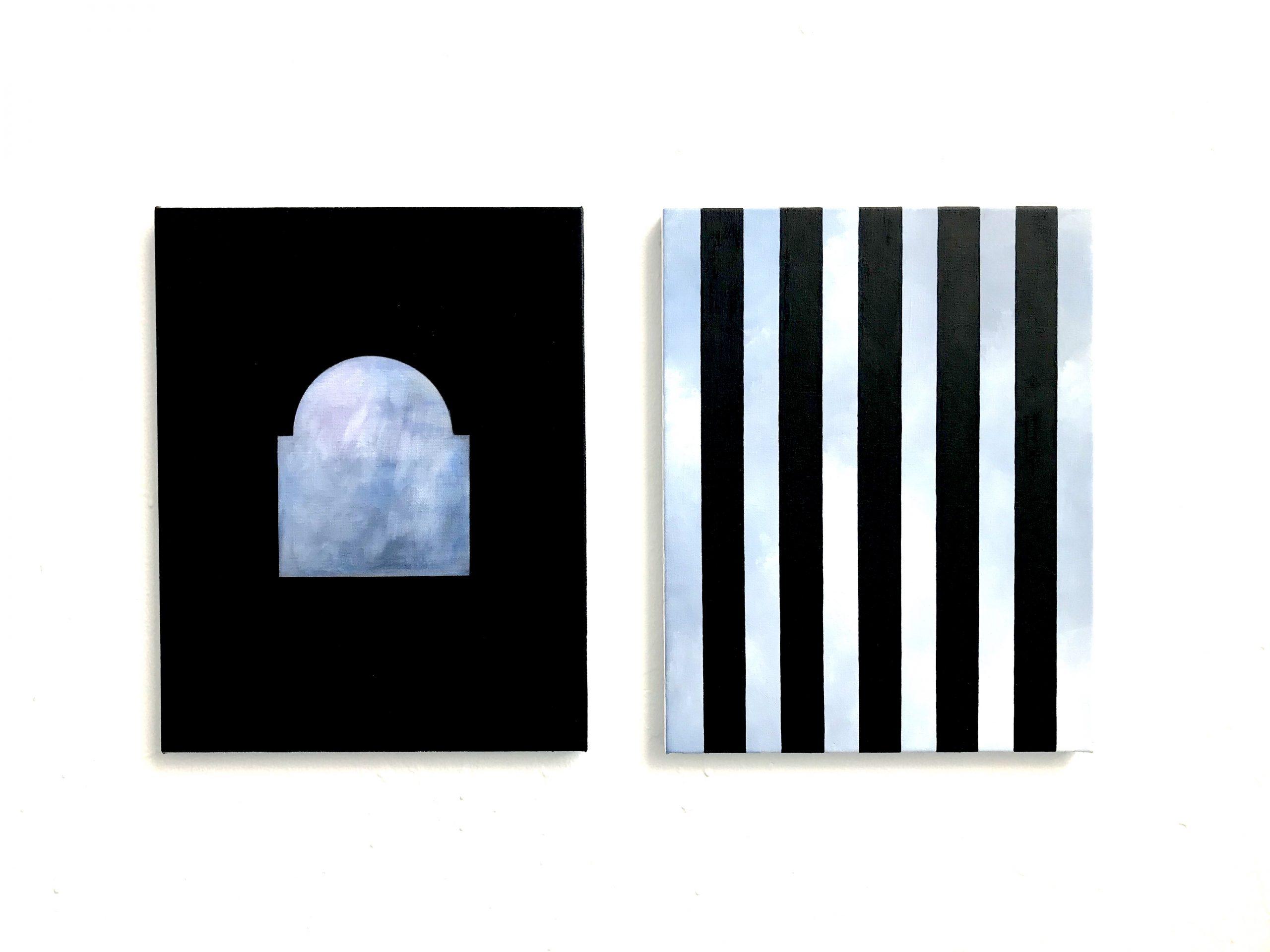 "Ande och Materia / Mind and Matter, April 2020. Jakob Solgren, ""Bina"", 2019, Oil on canvas 46 x 36 cm x 2 (diptyche)"
