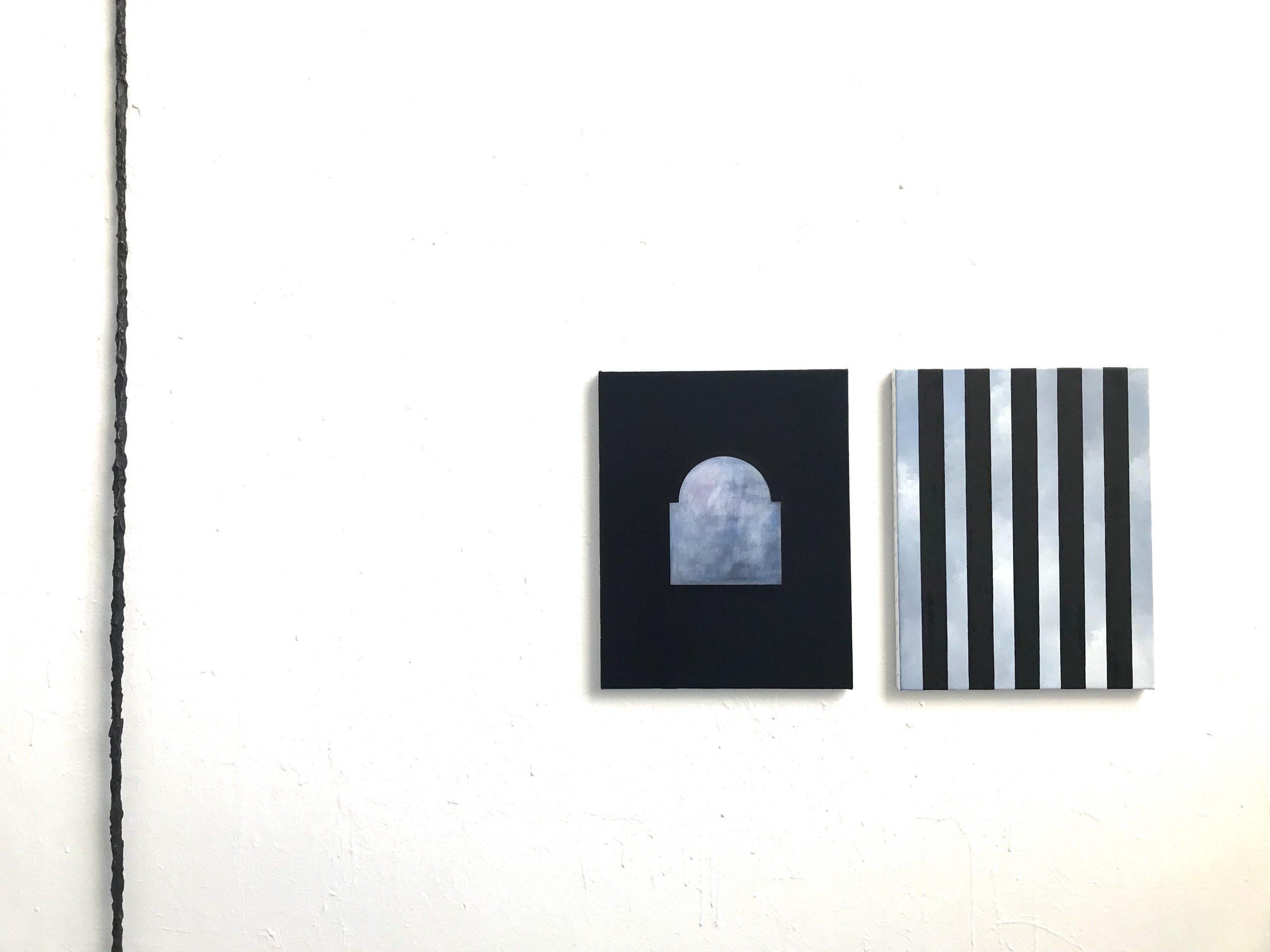 "Ande och Materia / Mind and Matter, April 2020. Jakob Solgren, Mätsticka, 2019. Bronze, 300 cm /  ""Bina"", 2019, Oil on canvas, 46 x 36 cm x 2 (diptyche)"