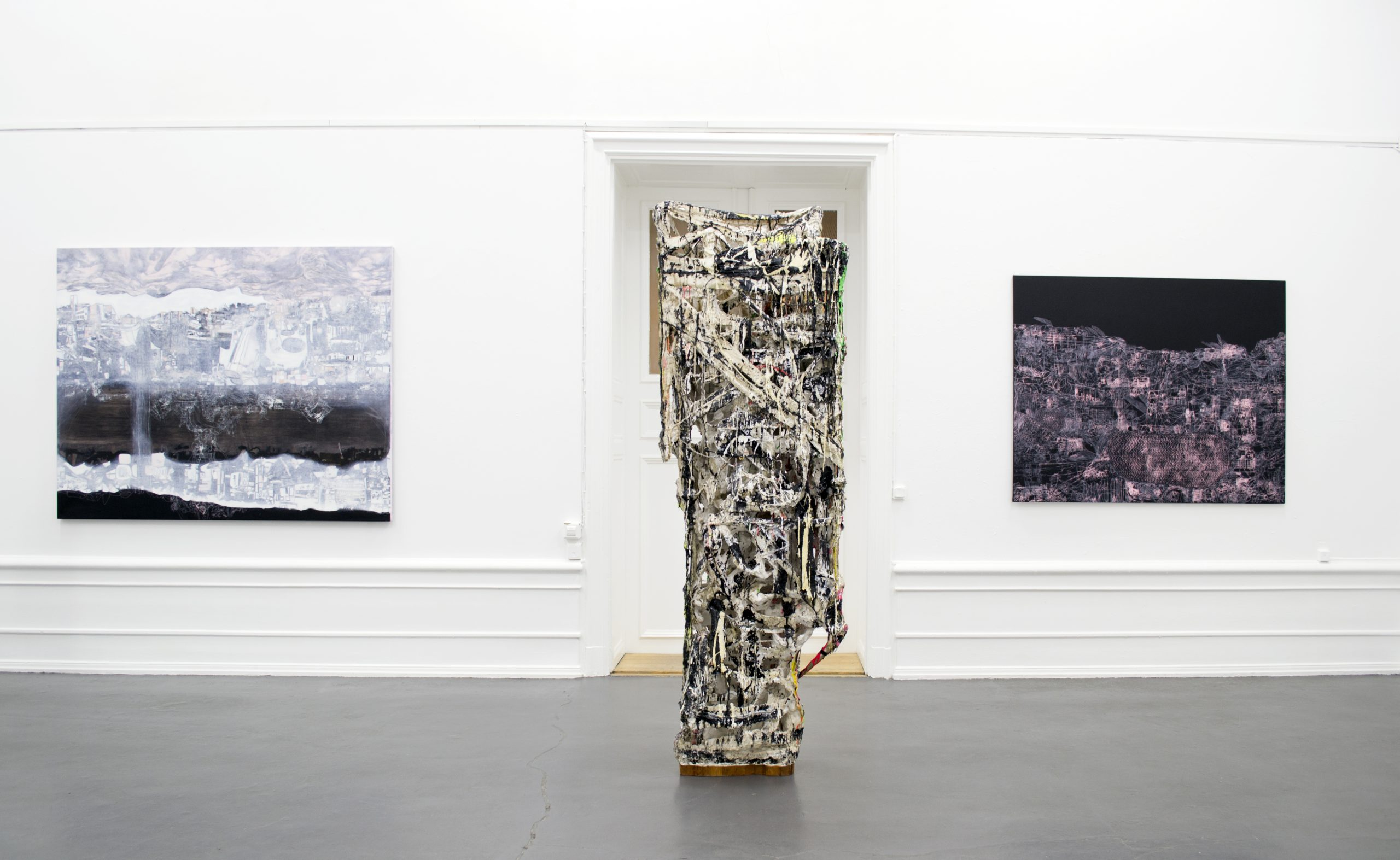 Jakob Westberg, (sculpture), Lisa D Manner (paintings). Installation view: Sculpture and Painting in Dialogue, 2020
