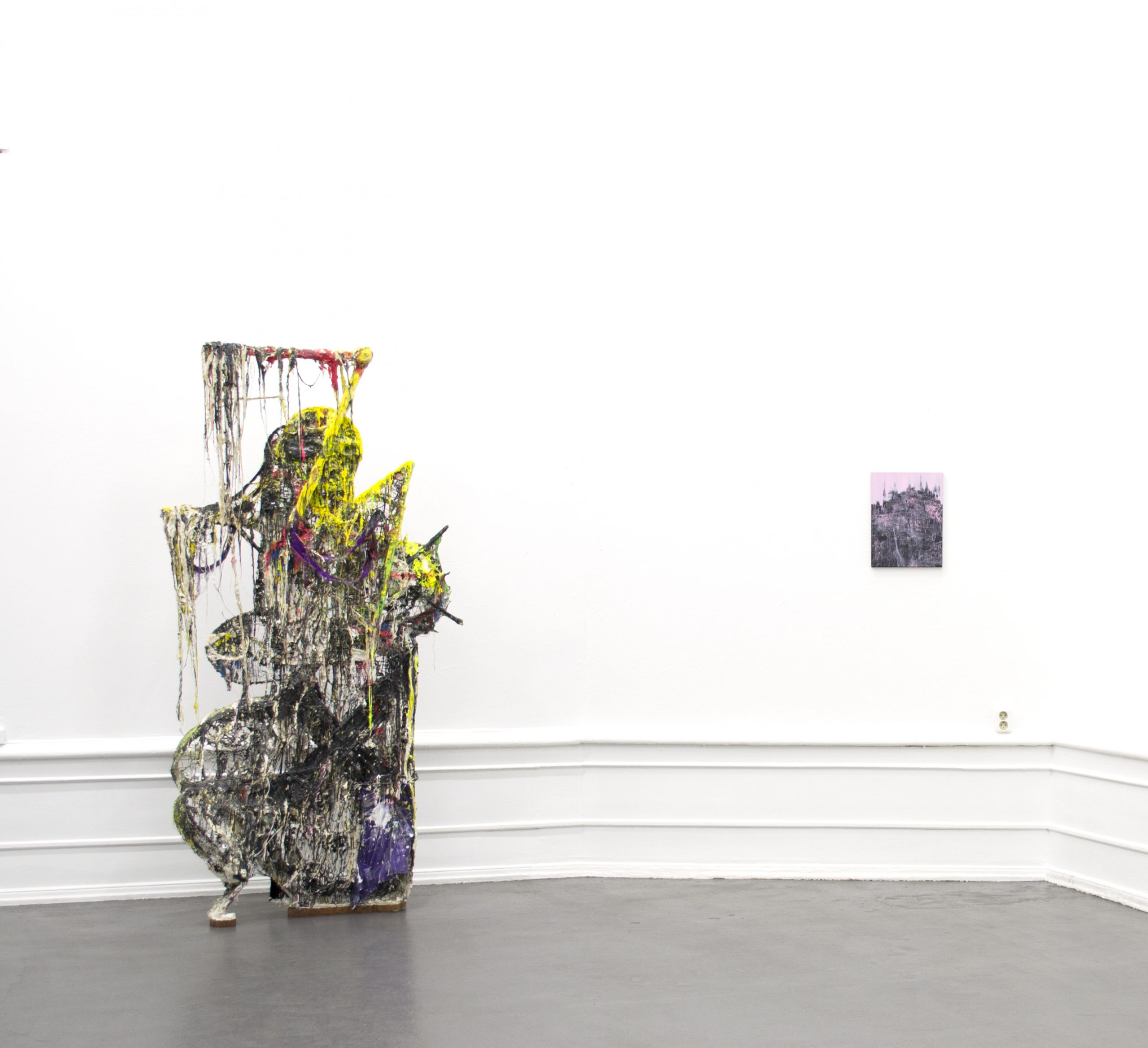 Jakob Westberg, (Sculpture), Lisa D Manner (painting). Installation view: Sculpture and Painting in Dialogue, 2020