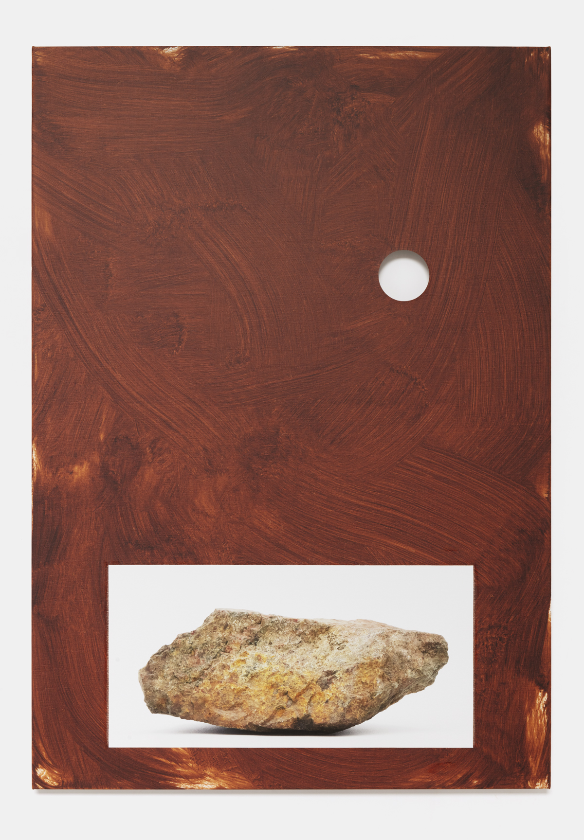 Berget/Sten (The Montain/Stone), 2020 oil and photography on canvas, 122 x 85 cm