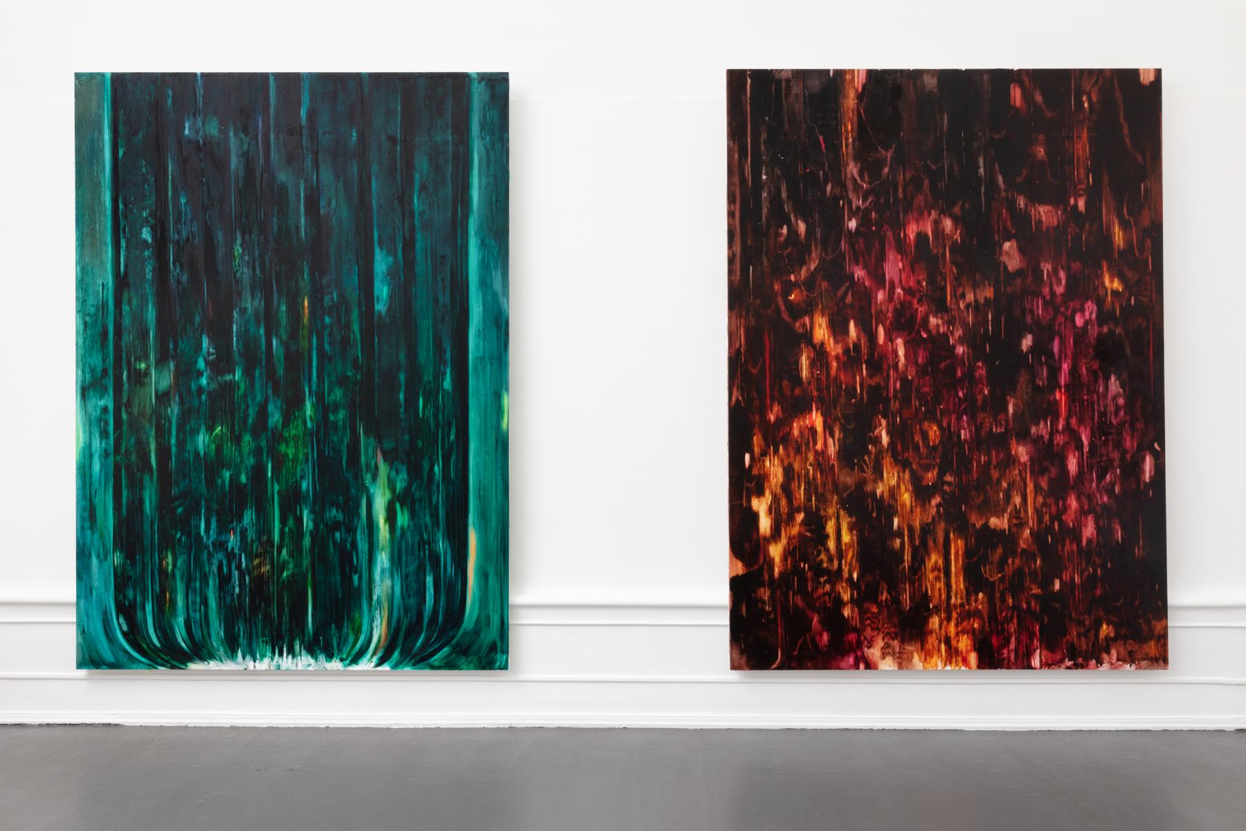 "Julia Selin: _""Dark rain signs"", 2020, oil on canvas,, 270x196 cm / ""Hot soggy night mire"", 2020, oil on canvas, 270x196 cm"