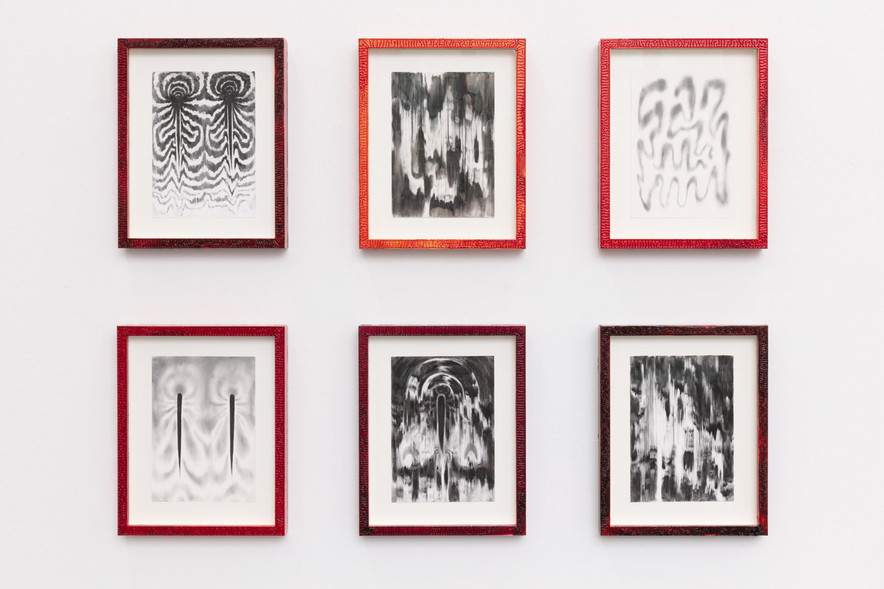 """Julia Selin_""""Moth shifts"""", 2020, carbon drawings, linseed oil on pine frame, 42,5 x 33,5 cm x 6"""
