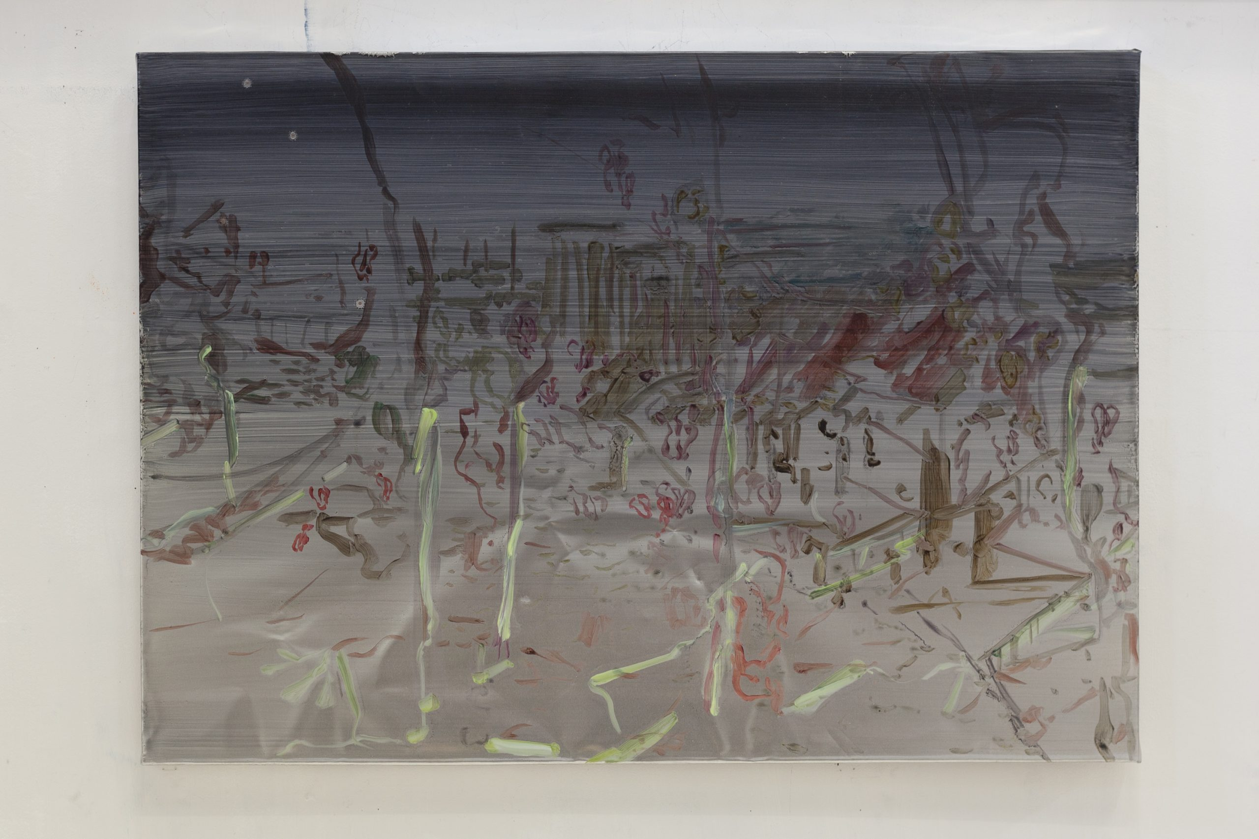 Henrik Eriksson, Utan titel (Goa 01) , 2018. Oil on aluminium, wooden frame, 85x60 cm,