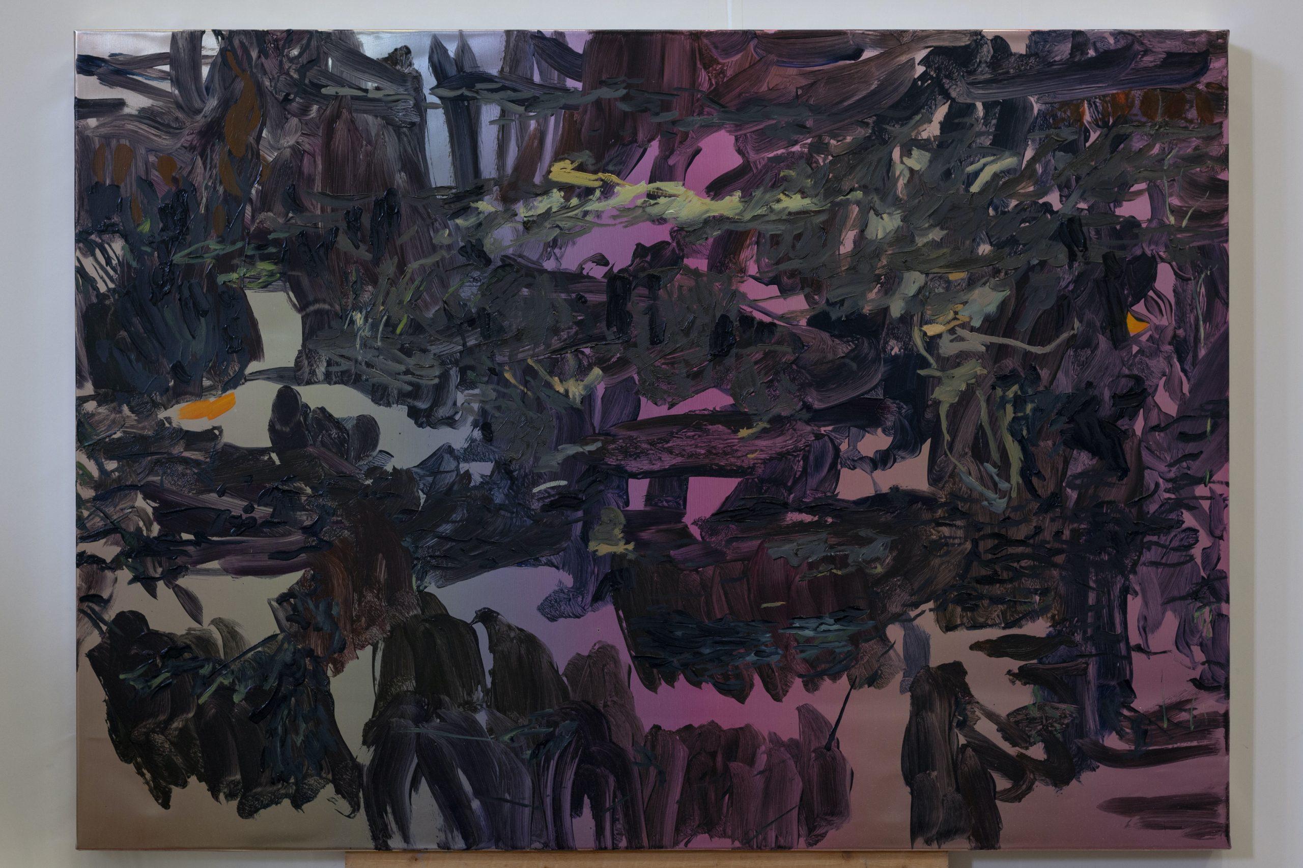 Henrik Eriksson, Utan titel (FM8 01), 2018. Oil on aluminium, wooden frame, 85x60 cm,
