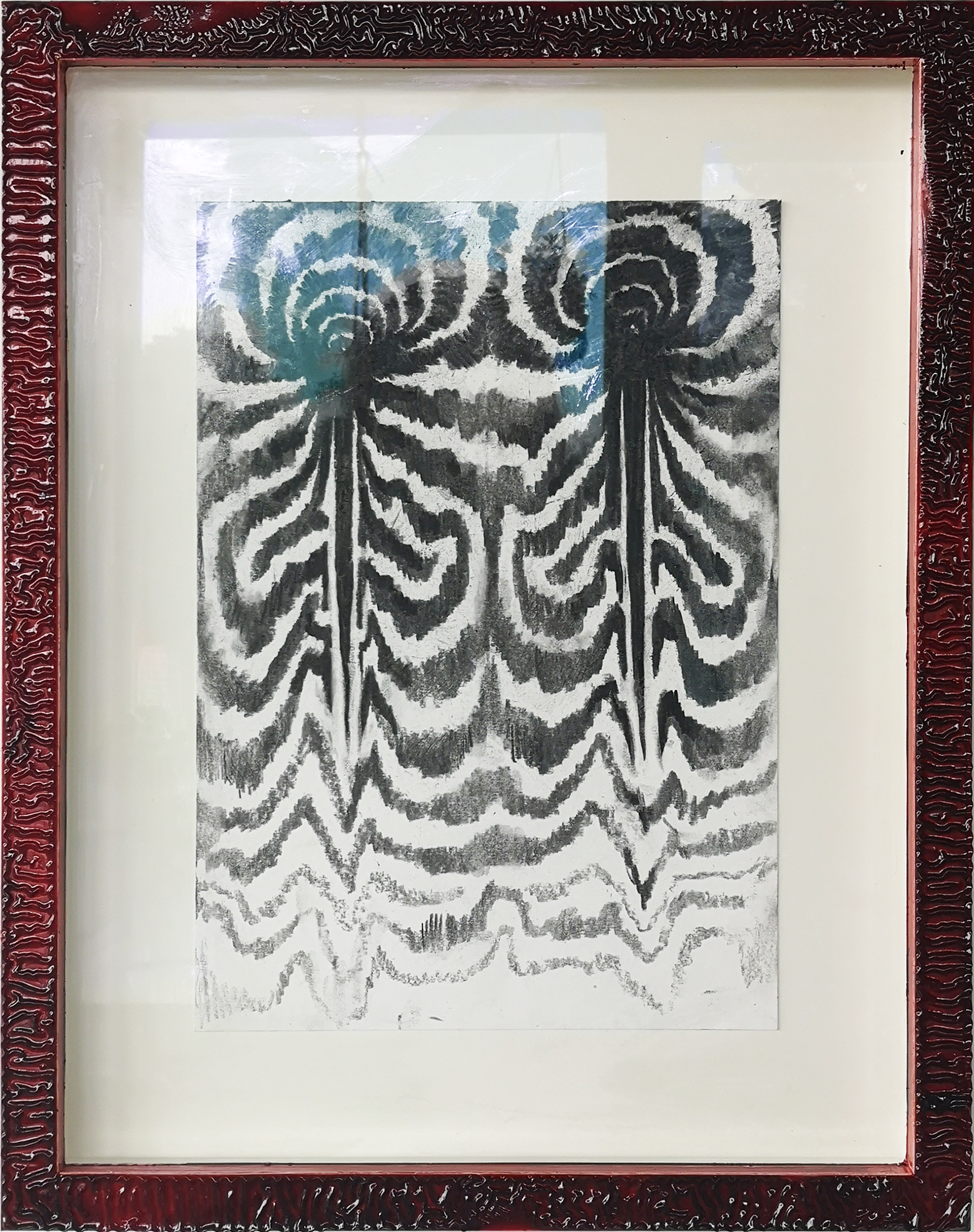"""""""Moth shifts II"""", 2020, charcoal on paper, pine frame, painted with oil paint and solar oxidized linseed oil."""
