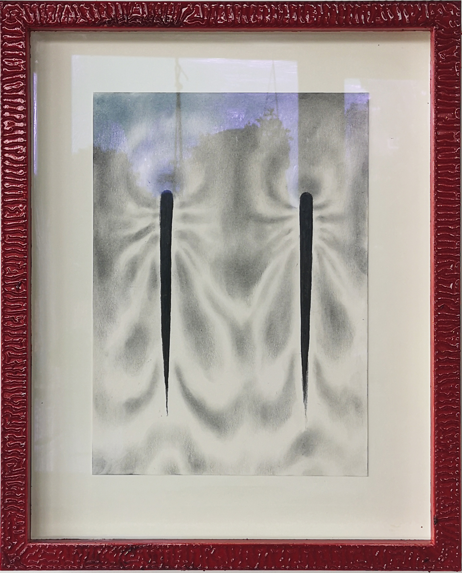 """""""Moth shifts III"""", 2020, charcoal on paper, pine frame, painted with oil paint and solar oxidized linseed oil."""