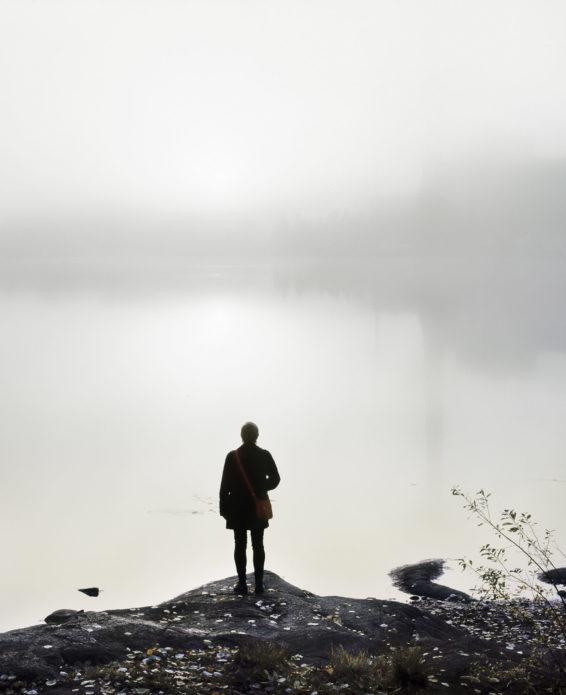 """The Wanderer / Vandraren.  Pigment ink print, valnöt ram, reflexfritt glas. 100 x 125 cm , Upplaga 4+1AP Ur serien """"The Petrified Forest""""."""