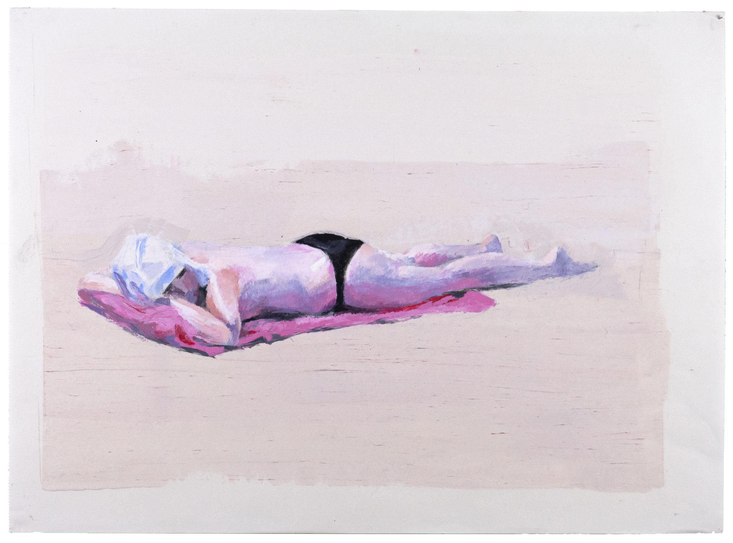 """""""Under en blöt handduk"""", 2017. Oljepastell på papper,  30 x 40 cm"""