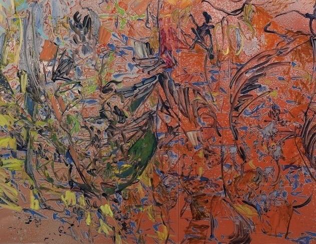 Henrik Eriksson, Utan titel, (FM2 01), 2018  Oil on aluminium, wooden frame, 170x122 cm